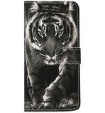 ADEL Kunstleren Book Case Portemonnee Pasjes Hoesje voor Samsung Galaxy S10 - Tijger Zwart_