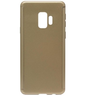 ADEL Kunststof Back Cover Hardcase Hoesje met Screenprotector voor Samsung Galaxy S9 - Goud