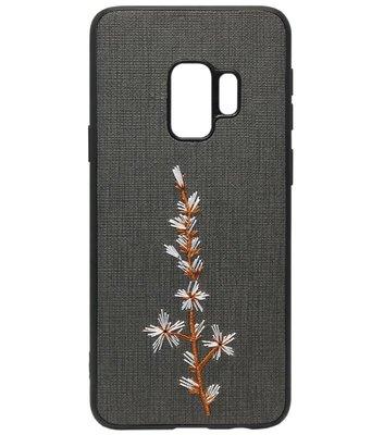 ADEL Siliconen Back Cover Softcase Hoesje voor Samsung Galaxy S9 Plus - Geborduurde Bloem Zwart