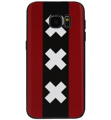 ADEL Siliconen Back Cover Softcase Hoesje voor Samsung Galaxy S6 Edge - Andreaskruisen Amsterdam
