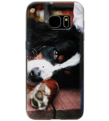 ADEL Siliconen Back Cover Softcase Hoesje voor Samsung Galaxy S6 Edge - Berner Sennenhond