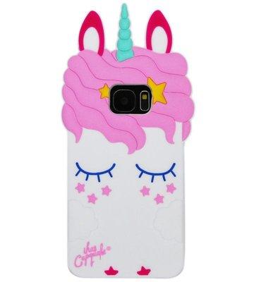 ADEL Siliconen Back Cover Softcase Hoesje voor Samsung Galaxy S6 Edge - Eenhoorn Wit