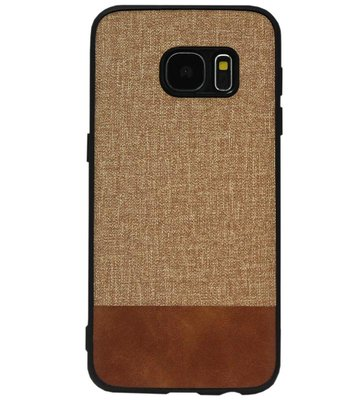 ADEL Siliconen Back Cover Softcase Hoesje voor Samsung Galaxy S7 Edge - Stoffen Design Bruin