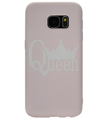 ADEL Siliconen Back Cover Softcase Hoesje voor Samsung Galaxy S7 Edge - Queen Roze