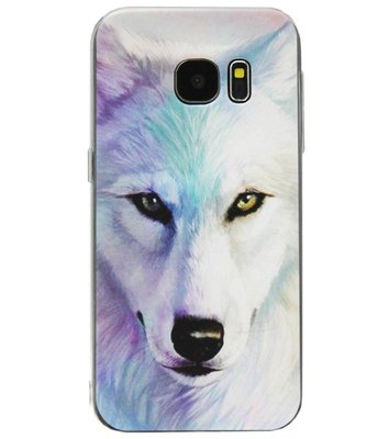 ADEL Siliconen Back Cover Softcase Hoesje voor Samsung Galaxy S7 Edge - Wolf
