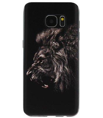 ADEL Siliconen Back Cover Softcase Hoesje voor Samsung Galaxy S6 Edge - Leeuwen Zwart