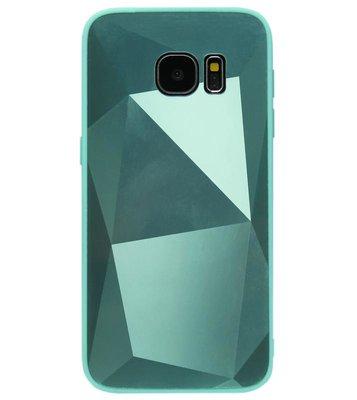 ADEL Siliconen Back Cover Softcase Hoesje voor Samsung Galaxy S6 Edge - Spiegel Diamanten Groen