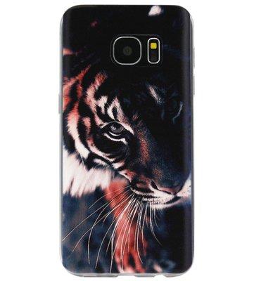 ADEL Siliconen Back Cover Softcase Hoesje voor Samsung Galaxy S6 Edge - Tijger