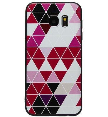 ADEL Siliconen Back Cover Softcase Hoesje voor Samsung Galaxy S7 Edge - Driehoeken Roze