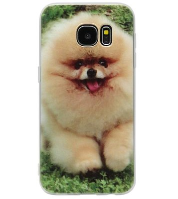 ADEL Siliconen Back Cover Softcase Hoesje voor Samsung Galaxy S7 Edge - Dwergkees Pomeriaan Hond