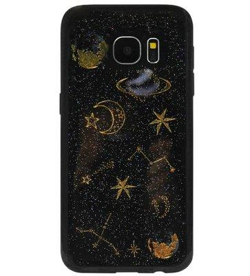 ADEL Siliconen Back Cover Softcase Hoesje voor Samsung Galaxy S7 Edge - Heelal Universum Zwart
