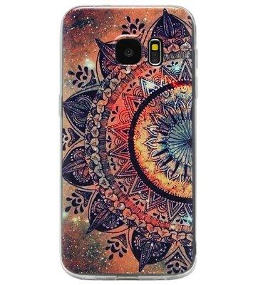 ADEL Siliconen Back Cover Softcase Hoesje voor Samsung Galaxy S7 Edge - Mandala Bloemen Rood