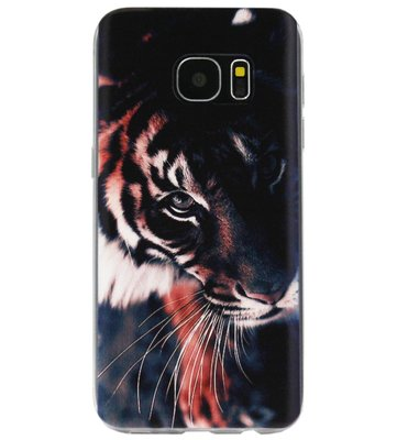ADEL Siliconen Back Cover Softcase Hoesje voor Samsung Galaxy S7 Edge - Tijger