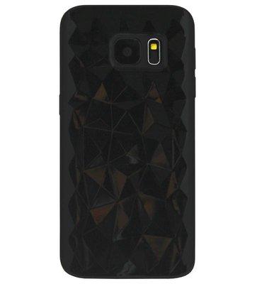 ADEL Siliconen Back Cover Softcase Hoesje voor Samsung Galaxy S6 Edge - Diamanten Zwart