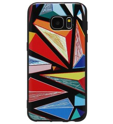ADEL Siliconen Back Cover Softcase Hoesje voor Samsung Galaxy S6 Edge - Driehoeken Kleur