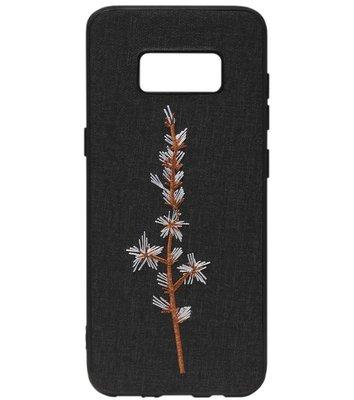 ADEL Siliconen Back Cover Softcase Hoesje voor Samsung Galaxy S8 Plus - Geborduurde Bloem Stoffen Design