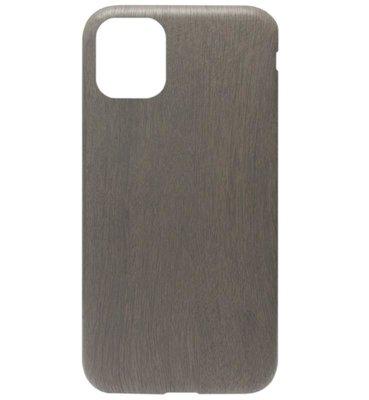 ADEL Siliconen Back Cover Softcase hoesje voor iPhone 11 Pro - Houten Design Zwart
