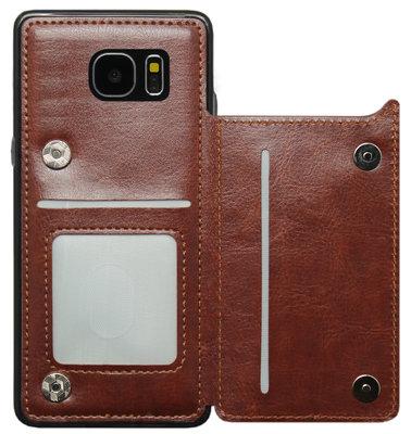 ADEL Kunstleren Back Cover Hoesje voor Samsung Galaxy S6 Edge - Pasjeshouder Bruin