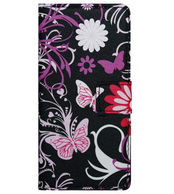 ADEL Kunstleren Book Case Hoesje voor Samsung Galaxy S6 Edge - Vlinders en Bloemen
