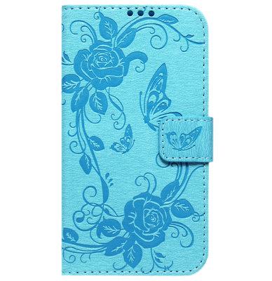 ADEL Kunstleren Book Case Hoesje voor Samsung Galaxy S6 Edge - Vlinder Blauw