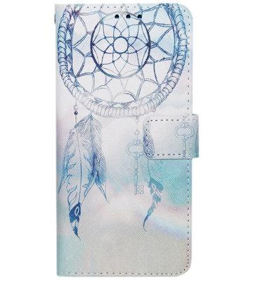ADEL Kunstleren Book Case Hoesje voor Samsung Galaxy S6 Edge - Dromenvanger Lichtblauw