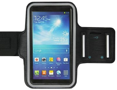 ADEL Sportarmband 5.5 Inch Microfiber Hoesje voor Samsung Galaxy S6 (Edge) - Zwart