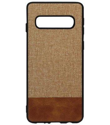 ADEL Siliconen Back Cover Softcase Hoesje voor Samsung Galaxy S10e - Stoffen Design Bruin