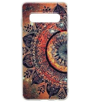 ADEL Siliconen Back Cover Softcase Hoesje voor Samsung Galaxy S10 Plus - Mandala Bloemen Rood
