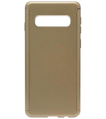 ADEL Kunststof Back Cover Hoesje met Screenprotector voor Samsung Galaxy S10 - Goud