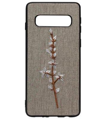 ADEL Siliconen Back Cover Softcase Hoesje voor Samsung Galaxy S10e - Geborduurde Bloem Grijs