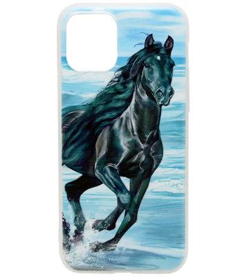 ADEL Siliconen Back Cover hoesje voor iPhone 11 Pro Max - Zwart Paard