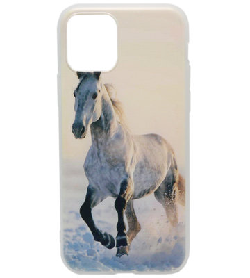 ADEL Siliconen Back Cover hoesje voor iPhone 11 Pro Max - Wit Paard