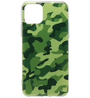 ADEL Siliconen Back Cover Softcase hoesje voor iPhone 11 - Camouflage Groen