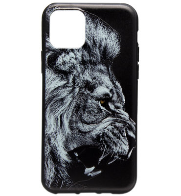 ADEL Siliconen Back Cover Softcase hoesje voor iPhone 11 Pro Max - Donkere Leeuw