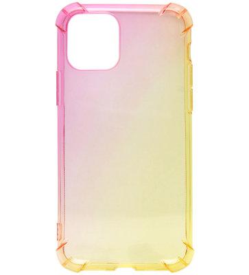 ADEL Siliconen Back Cover Softcase hoesje voor iPhone 11 - Kleurovergang Roze en Geel