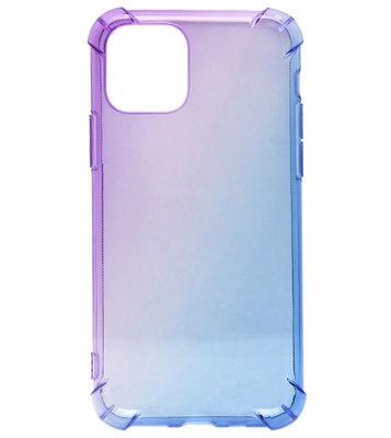 ADEL Siliconen Back Cover Softcase hoesje voor iPhone 11 Pro Max - Kleurovergang Paars en Blauw
