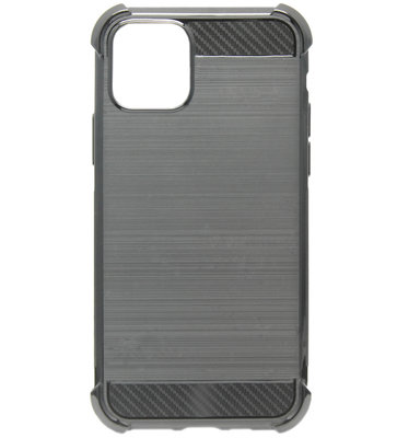 ADEL Siliconen Back Cover Softcase hoesje voor iPhone 11 - Gestreept Zwart