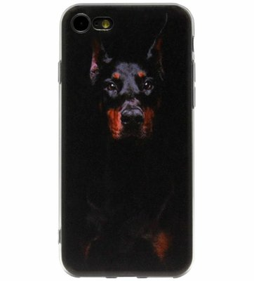 ADEL Siliconen Back Cover Softcase Hoesje voor iPhone SE (2020)/ 8/ 7 - Dobermann Pinscher Hond