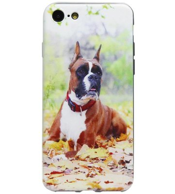 ADEL Siliconen Back Cover Softcase Hoesje voor iPhone SE (2020)/ 8/ 7 - Boxer Hond