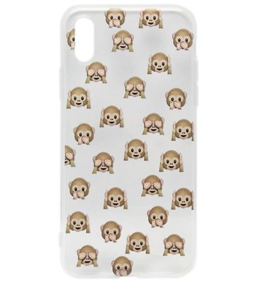 ADEL Siliconen Back Cover Softcase Hoesje voor iPhone XS/X - Smileys Emoticons Apen