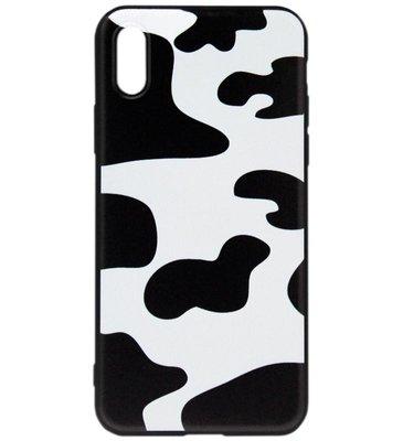 ADEL Siliconen Back Cover Softcase Hoesje voor iPhone XS/X - Koeienhuid
