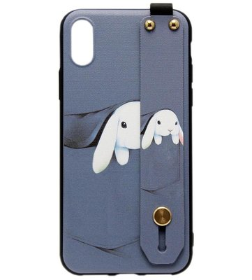 ADEL Siliconen Back Cover Softcase Hoesje voor iPhone XS/X - Konijn