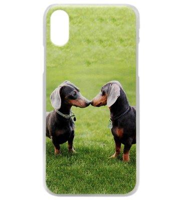 ADEL Kunststof Back Cover Hardcase Hoesje voor iPhone XS/X - Teckel Honden