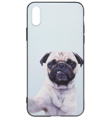 ADEL Siliconen Back Cover Softcase Hoesje voor iPhone XS/X - Bulldog Hond