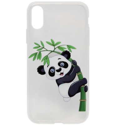 ADEL Siliconen Back Cover Softcase Hoesje voor iPhone XS/X - Panda in Boom