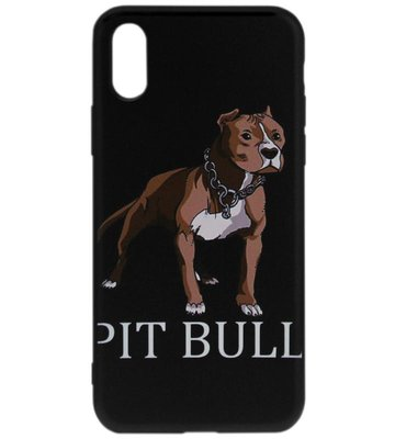 ADEL Siliconen Back Cover Softcase Hoesje voor iPhone XS/X - Pitbull Hond