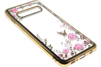 Goud glimmend bloemen hoesje Samsung Galaxy S10