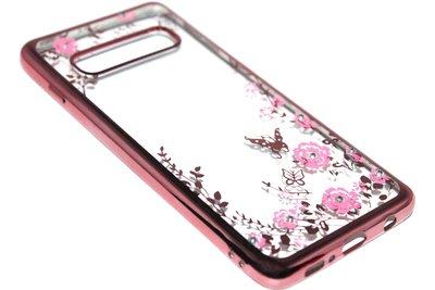Roze glimmend bloemen hoesje Samsung Galaxy S10