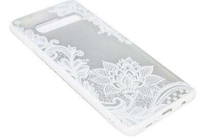 Wit mandala bloemen hoesje Samsung Galaxy S10