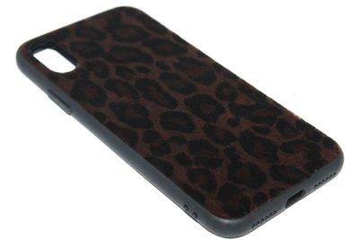 ADEL Siliconen Back Cover Hoesje voor iPhone XS/X - Bruine Luipaard